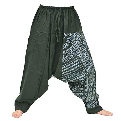 Siamrose Yoga-Haremshose für Damen und Herren, 1 Tasche, elastischer Bund mit Kordelzug -  Grün -  Einheitsgröße