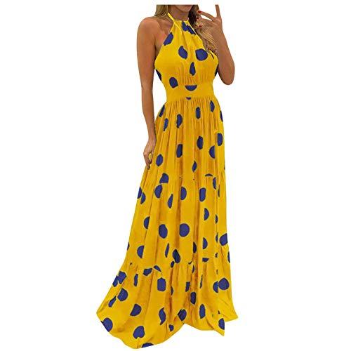 iQKA Prom Dresses 2021 Long Vestidos Casuales Juveniles Women Dresses Summer Plus Size Dresses Sexy(Yellow,M)