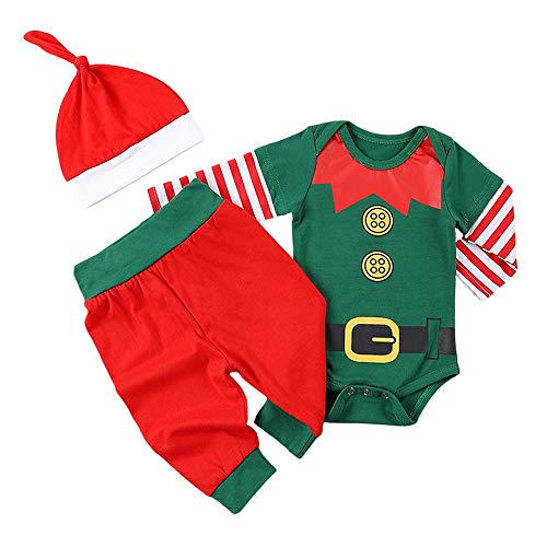 Baby Boy Girl Christmas Outfit ELF Long Sleeves Xmas Striped Bodysuit and Pants with Hat 3PCS (Green, 0-3 Months)