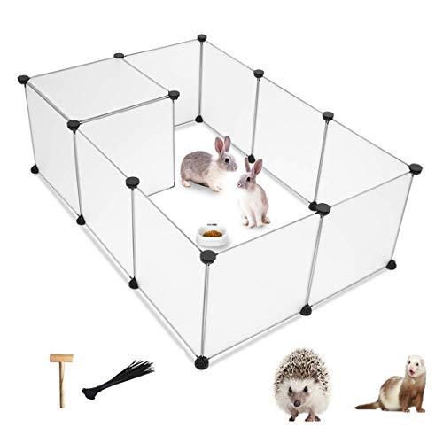 PINVNBY pequeño Parque de Juegos portátil de Resina para Mascotas, Valla para Perro, Gato, Conejo, hurón, cobaya, Conejo, erizos, Exteriores e Interiores (12 Paneles)
