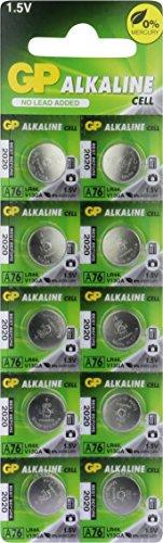 GP Knopfzellen Alkaline LR44, Batterien A76 / AG13, 1,5v (Spannung 1,5 Volt) 10 Stück Knopfbatterien im Multipack