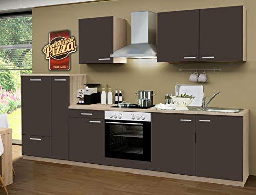 expendio Küchenzeile Regio 300 cm Lava mit E-Geräten Küchenblock Einbauküche Komplett-Küche Dekor Sonoma Eiche