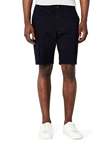 Marchio Amazon - MERAKI Cotton Slim Fit Cargo-Pantaloncini Uomo, Blu (Navy), 40, Label: 40