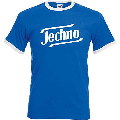 Techno Ringer T-Shirt Blau-Weiss-Weiss (XXL)