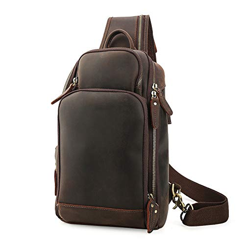Lannsyne Genuine Leather Sling Bag Chest Bag Crossbody Single Strap Backpack for Men with USB Charging Port