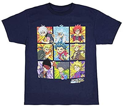 Beyblade Burst Boys' Spinner Tops Graphic Character Grid T-Shirt (X-Large)