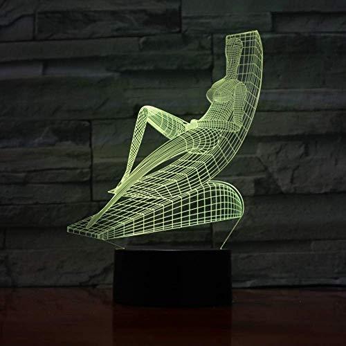 3D nachtlampje ligstoel Sunbath Yoga Design Touch tafellamp 7 16 kleuren wisselende bureaulamp 3D lamp LED nachtverlichting USB licht