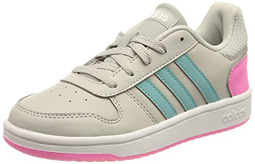 adidas Hoops 2.0 Basketball Shoe, Grey/Mint Ton/Screaming Pink, 31 EU