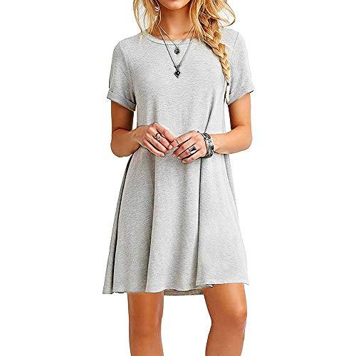 baratos y buenos Farchat Vestido Mujer Camiseta holgada informal Vestido de cuello redondo Gris L. calidad