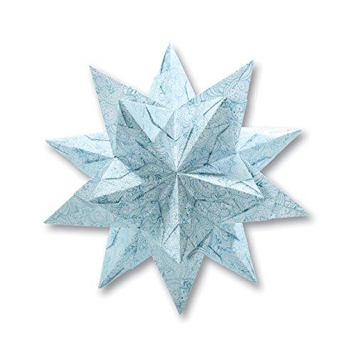Folia Bascetta Stern 'Winterornament', 15x15cm, weiß/eisblau, 32-teilig (1 Set)