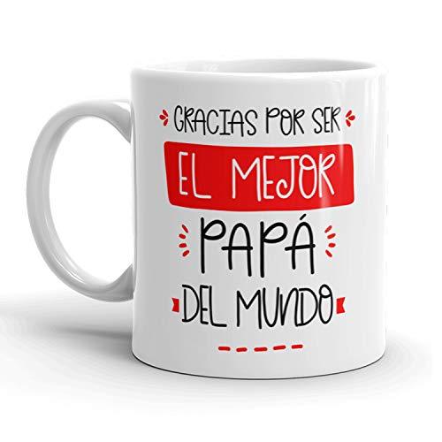 Kembilove Taza regalo día del padre – Tazas Desayuno para Papá con Mensaje Gracias por ser el mejor Papá del mundo – Tazas originales – Regalo para padres – Ideas regalo padre