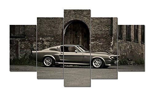 KOPASD Cuadro en Lienzo 200x100 cm Mustang Shelby GT Deportes Carro Impresión de 5 Piezas Material Tejido no Tejido Impresión Artística Imagen Gráfica Decoracion de Pared Ciudad