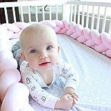 LAAT 1.5M Bettumrandung geflochten Bettschlange Babybett Nestchen für Baby Bettausstattung Kinderbett Stoßstange,Pink