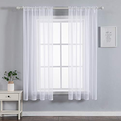 Woaboy White Sheer Curtains Window Voile Panels for Living Room 72 inch Length Solid Sheer Curtain for Bedroom White 54x72 Inch 1 Pair