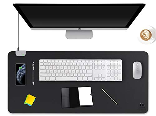 """LUNAR LEATHER Landing Pad – XXL Leather Qi Wireless Charging Desk Mat/Mouse Pad 35.5"""" x 17"""" 