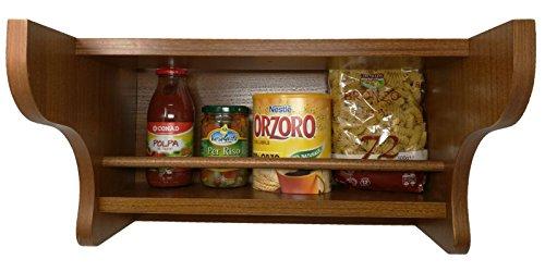 ETCE Mensola in Legno 45 cm x 24 cm | Scaffale Portaspezie Color Noce Rustico Country Cucina