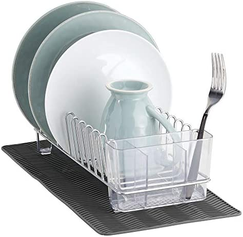 mDesign Compact Kitchen Countertop Sink Dish Drying Rack and Silicone Drying Mat Drain and Dry product image