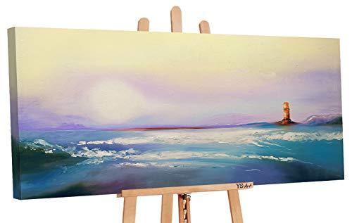YS-Art | Cuadro Pintado a Mano Camino a casa | Cuadro Moderno acrilico | 115x50 cm | Lienzo Pintado a Mano | Cuadros Dormitories | único | Azul