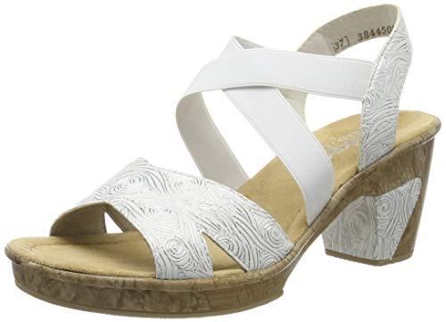 Rieker Damen 69720-80 Geschlossene Sandalen, Weiß (Weiß-Silber 80), 40 EU