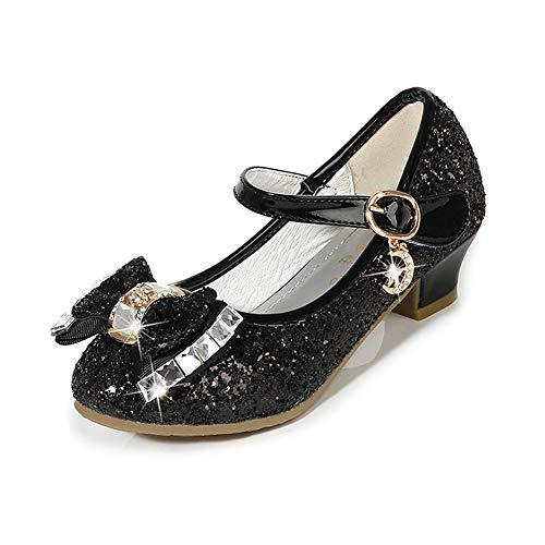 Girls Dress Shoes Mary Jane Wedding Party Shoes Glitter Bridesmaids Princess Heels (Toddler/Little Kid/Big Kid) Black 4M Big