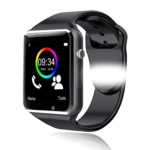 Smartwatch Bluetooth Smart Watch Phone Orologio Intelligente con SIM Card Slot Fotocamera Fitness Tracker Pedometro Sport Watch per iPhone Huawei Samsung Xiaomi Android Uomo Donna Bambini (nero)