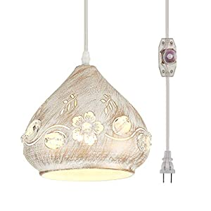 YLONG-ZS Hanging Lamps Swag Lights Plug in Pendant Light 16 FT Cord and Chain/Hanging Pendant Light Cage in-Line On/Off Dimmer Switch for Kitchen Island, Dining Room, Entryway(White and Crystal)