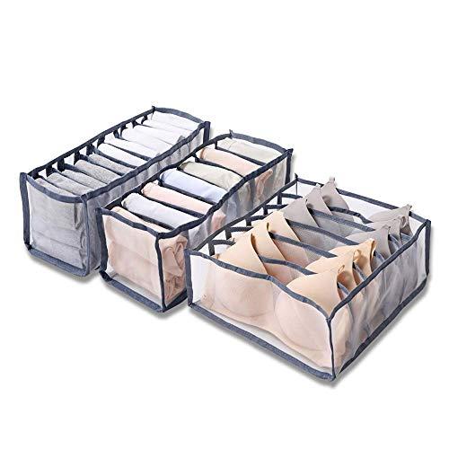 Feliciay - Organizador De Cajones Ropa Interior 3 Piezas, Separadores Armario, Contenedores Almacenamiento Plegables, Caja para Calcetines, Sujetador ActualizacióN, Divisor Plegable, Bragas (Gris)