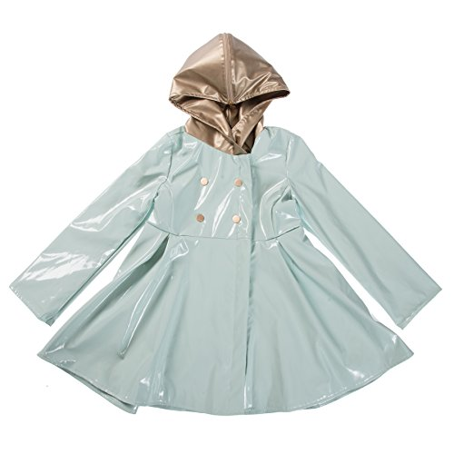 Oil and Water Little and Big Girl's Fashion Waterproof Raincoat Jacket with Hood (Aqua Platinum, 4/5)