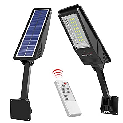 4000mAh Solar Lights Outdoor with Remote JACKYLED 1000LM Solar Motion Sensor Wall Light with Adjustable Pole Wireless IP65 Waterproof Security Light for Road Porch Garden Yard Fence Garage 2-Pack
