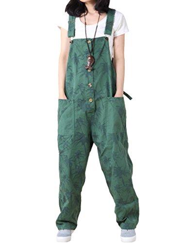 Vogstyle Damen Casual Printing Denim Jumpsuit Pantalons Grün