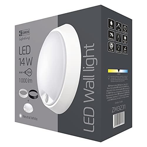 EMOS Lampada da parete a LED e plafoniera con sensore di movimento, rotonda, IP54, impermeabile, 14 W, per esterni, balcone, cantina, garage, esterni, 1000 lm, bianco neutro 4000 K, diametro 21,5 cm