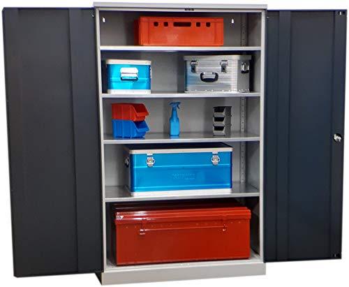 Koloss Werkstattschrank Schwerlastschrank Vorratsschrank mit verzinkten Fachböden 195x120x60 cm GRAU/ANTHRAZIT