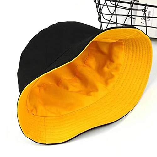 Ga-yinuo Gorro de Pescador de algodón Liso de Color Liso para Mujer Gorra de Cubo de Gorra de Pescador Reversible de algodón Plano, Negro Amarillo