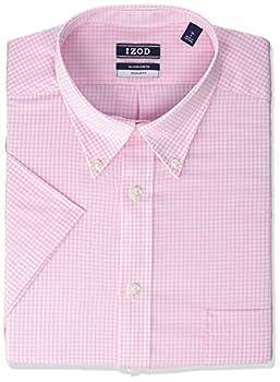 IZOD Men s Regular Fit Short Sleeve Check Dress Shirt Carnation 17.5  Neck  X-Large