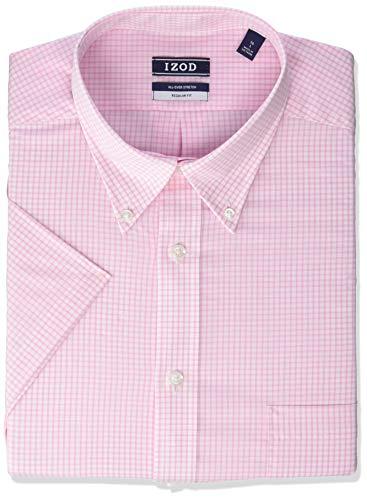 IZOD Men's Regular Fit Short Sleeve Check Dress Shirt, Carnation, 17.5