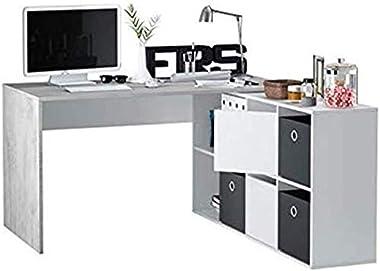 Bricozone Scrivania Scrittoio Tavolo Porta Pc Murcia Multiposizione con Scompartimenti Mobile da Ufficio Lavoro per Computer