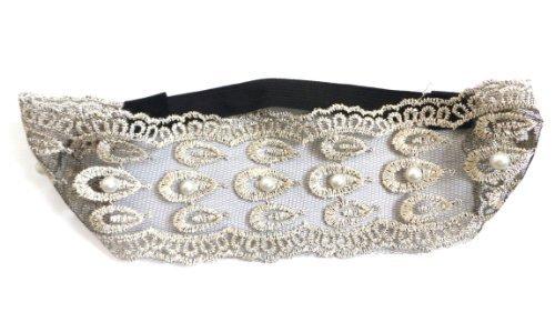 Haarband Ref072 BAN.140 – haaraccessoires – haarband bohemium chic kant parels – beige ecru zwart en gouddraad