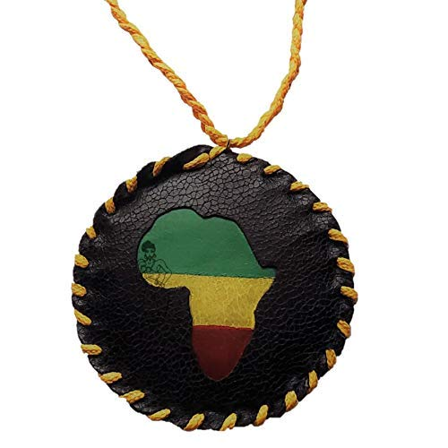 90s Faux Leather Africa Medallion with Yellow Necklace by Brownskin Things - Rasta Colors - Handmade - Old School Hip Hop Accessories - African American - 1990s