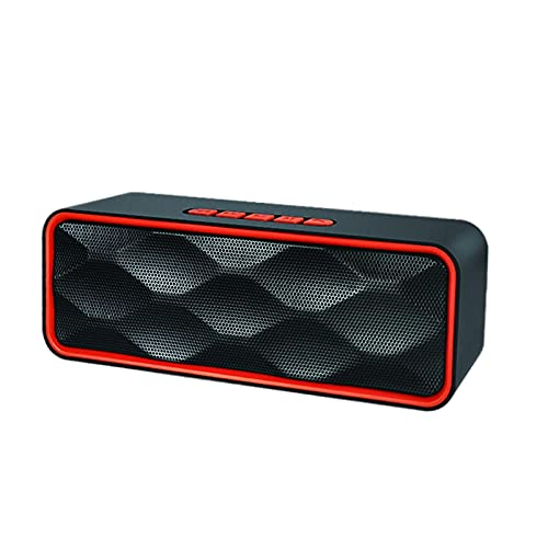 MagiDeal Altavoz Bluetooth Recargable HD Sonido ABOERING Bass USB AUX AUX Incorporado Mic Altavoces para Exteriores para Party Indoors Smartphones Manos Libres - Rojo
