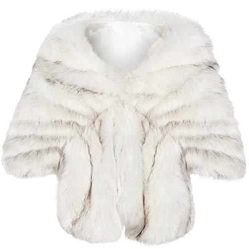 Coucoland Kunst Pelz Schal Damen Flauschig Faux Pelz Umschlagtuch Warm Kragen für Wintermantel 1920s Accessoires Gatsby Kostüm Zubehör (Weißer Fuchs, L)