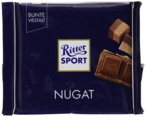 RITTER SPORT Nugat (100 g), Tafelschokolade mit cremig-feinem Nugat, Edelnugat umhüllt von feiner Vollmilchschokolade, intensiver Nussgeschmack