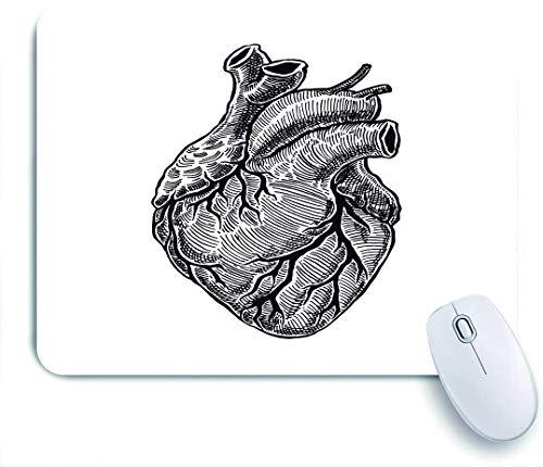 SUHOM Gaming Mouse Pad Rutschfeste,Orgel Real Realistic Mensch Herz Vintage Hand Pumpe Skizze Anatomie Gravierte Anatomisch Gezeichnetes Design,für Computer Laptop Office Desk,240 x 200mm
