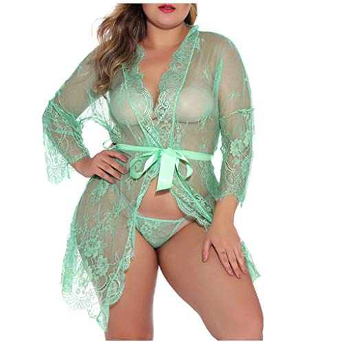 KANGMOON Plus Size 4XL See Through Sexy Lingerie Women Lace Babydoll Dress Sleepwear Underwear G String Chemises Black