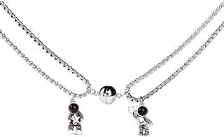 COLORFUL BLING 2 Pcs Mutual Attraction Couples Special Matching Necklaces Spaceman Pendants with Magnets Promise Astronaut...