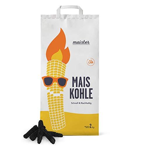 Maister Maiskohle 2kg | Holzkohle-Alternative | Nachhaltige Grillkohle aus Mais | Grillkolben | Maiskolben | Grillkohle-Ersatz | Grillmais | Hohe Hitze