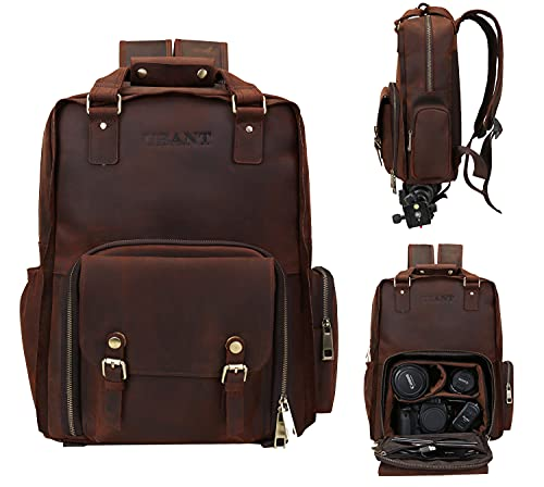 UBANT Leather Camera Backpack Vintage Full Grain Leather DSLR Camera Bag Backpack with 15.6'' Laptop Compartment Tripod Holder Waterproof Outdoor Photography Professional Camera Case for Men Women