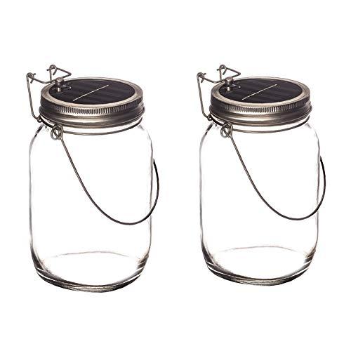 Trendario - 2x LED Solarlampen im Einmachglas, Solarlaterne als perfekte Gartenleuchte - Solar Sun Jar, Sonnen Hängeleuchte aus Glas - Solarglas mit extra langer Leuchtdauer
