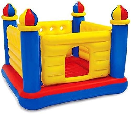 WSGZH Hüpfburg Trampolin Kinder Trampolin mit Schutznetz Hause Falten aufblasbare Paradies Schloss Indoor Bounce Bett Spielzeug Last tragende 54kg Geschenk (Farbe   Blau, Größe   175  175  135CM)