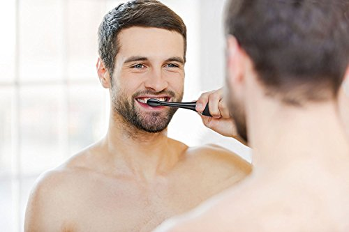 AquaSonic Black Series Ultra Whitening Toothbrush – ADA Accepted Electric Toothbrush - 8 Brush Heads & Travel Case - Ultra Sonic Motor & Wireless Charging - 4 Modes w Smart Timer - Sonic Electric