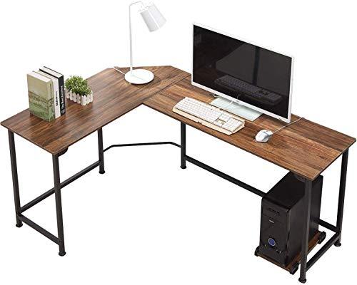 VECELO - Mesa de Ordenador, Mesa de Esquina de Madera y Marco de Acero Negro, Mesa de Ordenador para casa y Oficina, Color marrón